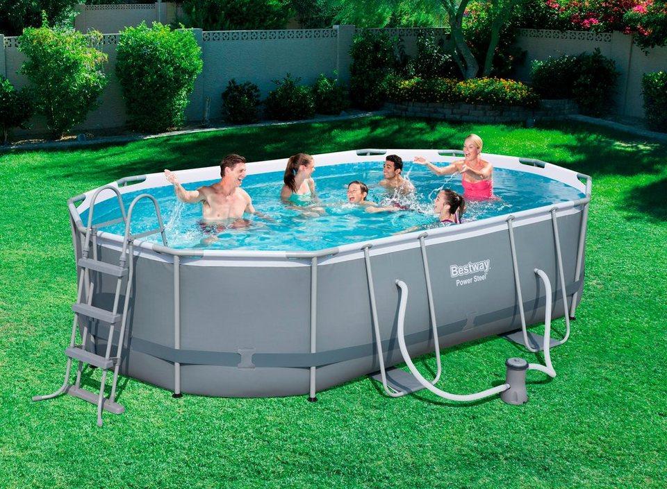 bestway set frame pool power steel 488x305x107 cm oval mit filterpumpe zubeh r online. Black Bedroom Furniture Sets. Home Design Ideas