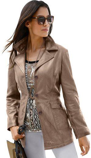 Leder-Jacke mit Reverskragen