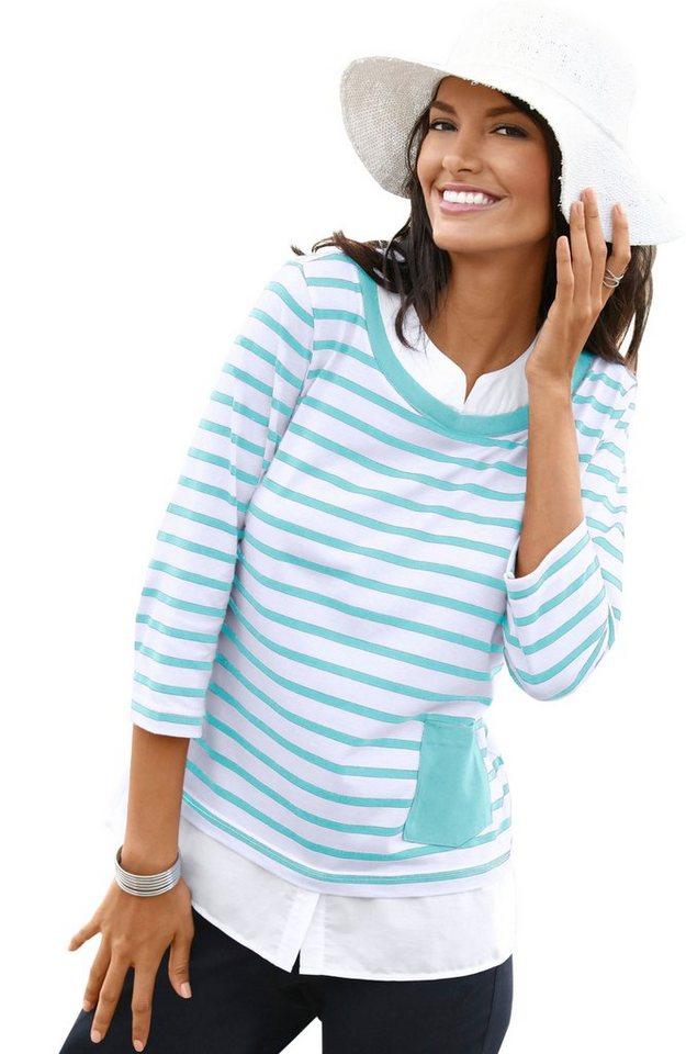 Collection L. 2-in-1-Shirt mit gewebtem Einsatz | Bekleidung > Shirts > 2-in-1 Shirts | Blau | Collection L.