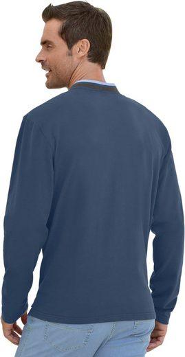 Marco Donati Langarm-Shirt mit Velourslederimitat-Paspel am Stehkragen