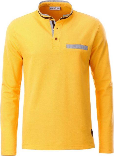 marco donati -  Langarm-Shirt mit Velourslederimitat-Paspel am Stehkragen