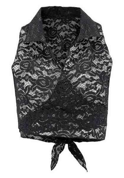 LASCANA Bolero-Top aus transparenter Spitze mit Hemdkragen