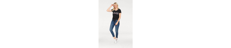 Please Jeans T-Shirt, mit Perlen am Ausschnitt