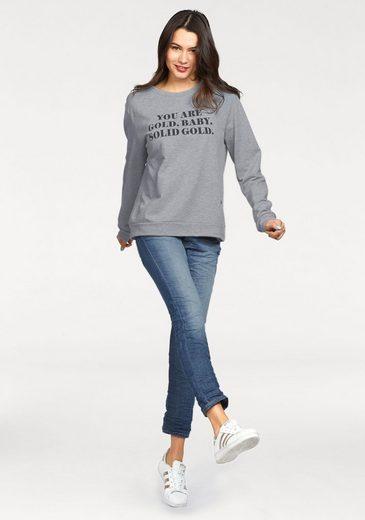 Please Jeans Sweatshirt, mit großem Statement-Print