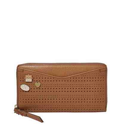 Fossil Geldbörse »CAROLINE ZIP AROUND WALLET«, mit modischer Perforation und RFID Block