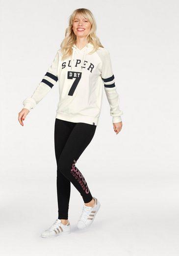 Superdry Leggings Glitter Logo Planning, Mit Rosafarbenem Glitzerprint