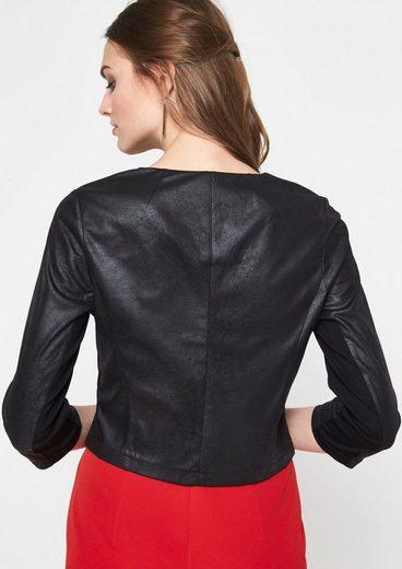 Comma Soft Short Blazer In Leather Imitation