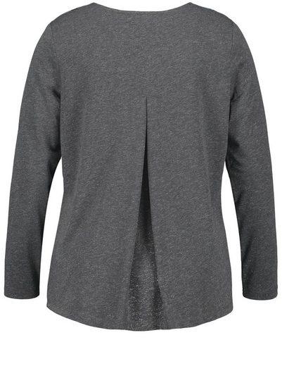 Samoon T-Shirt Langarm Rundhals Longsleeve mit Tupfen und Lurex-Effekt