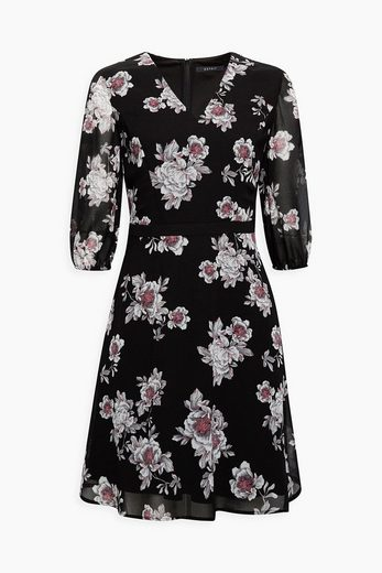 ESPRIT COLLECTION Chiffon-Kleid mit Blumen-Print