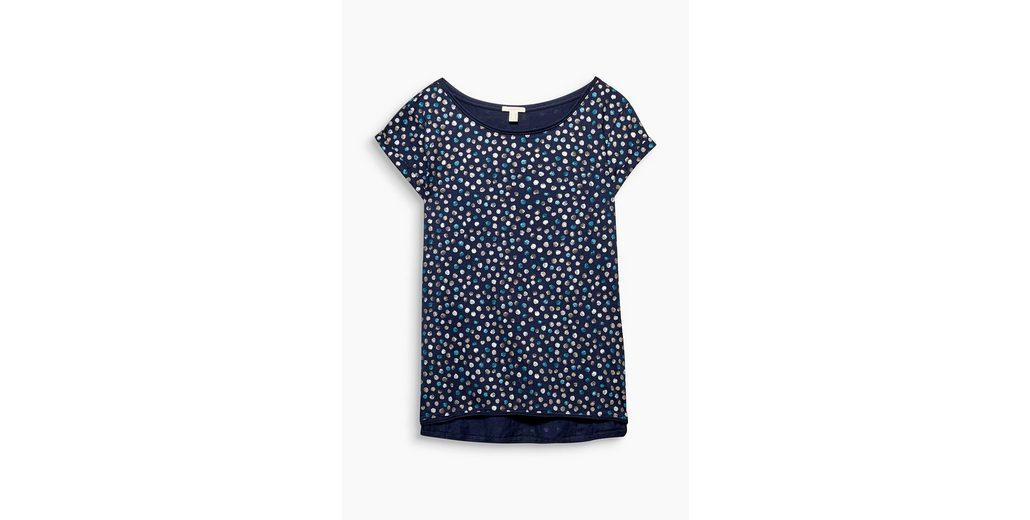 ESPRIT Shirt mit Glitzer-Tupfen, 100% Baumwolle