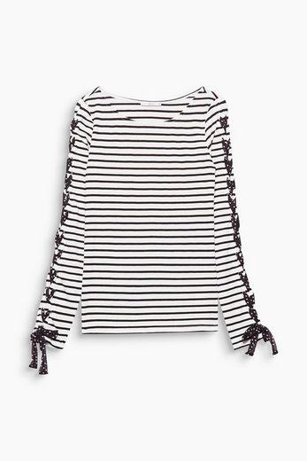 EDC BY ESPRIT Ringel-Shirt mit Deko-Schnürung