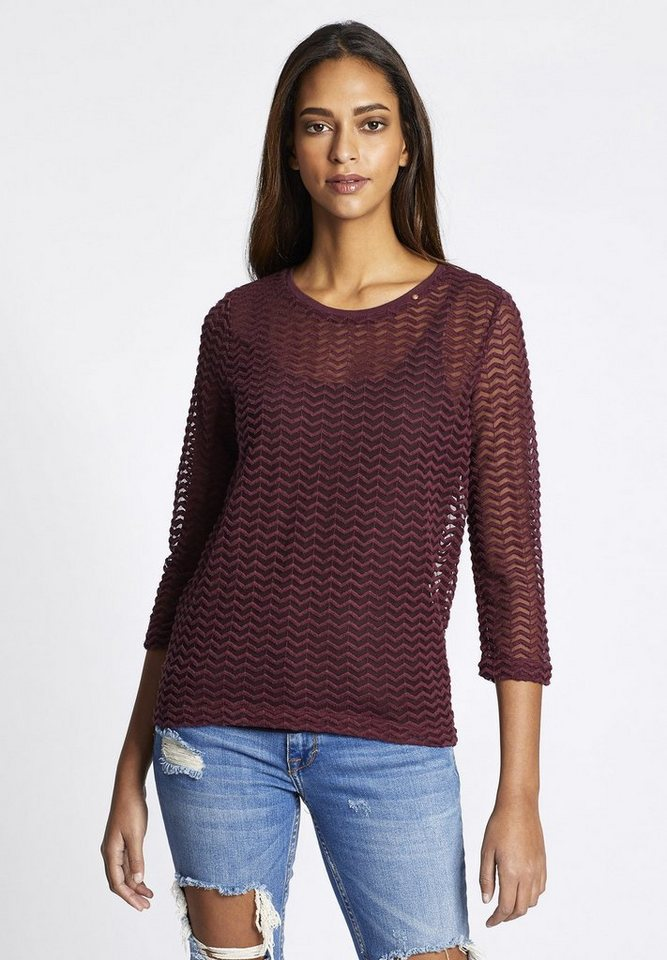 khujo Spitzenshirt »FINISTER« mit Zickzack-Muster | Bekleidung > Shirts > Spitzenshirts | Lila | khujo