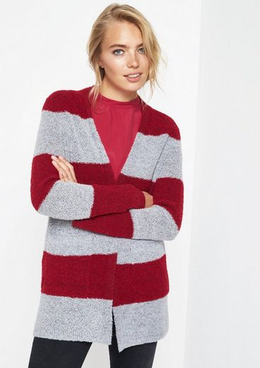 Comma Cuddly Boucléjacke In Block Stripe Optics