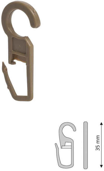 Faltenlegehaken, Liedeco, Vorhänge, Gardinen, (Set, 10-St), für Gardinenringe Öse 10 mm
