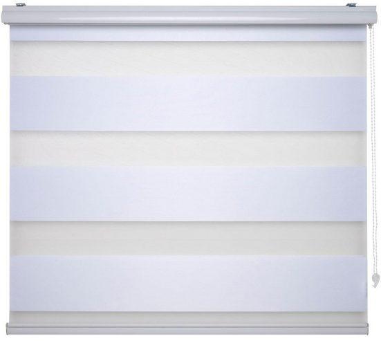 Doppelrollo »DUO-Rollo mit 20 cm Streifen«, Liedeco, Lichtschutz, mit Bohren, im Fixmaß