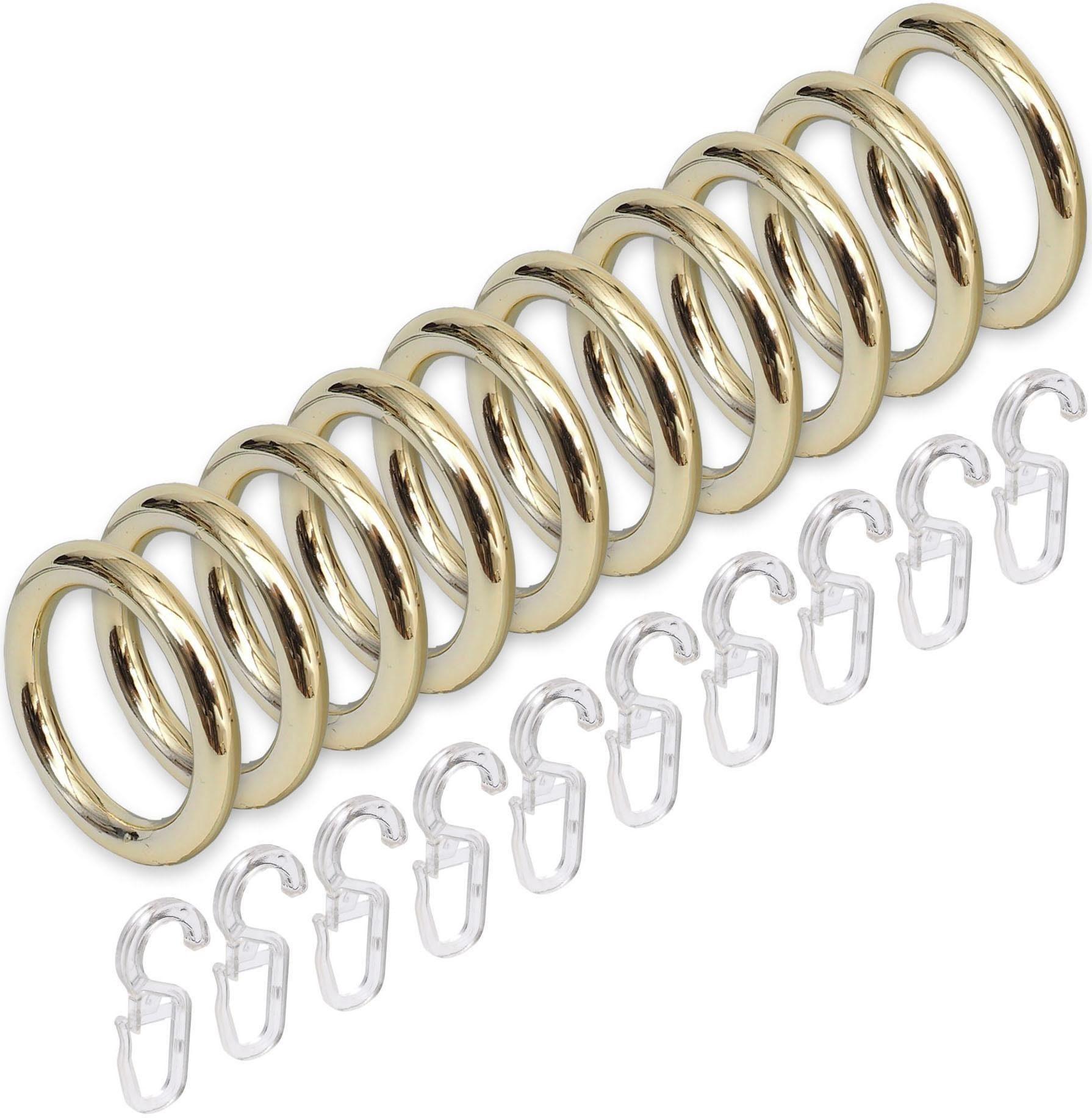 Ring-Breite 9 mm GARDINIA Gardinenringe f/ür Gardinenstangen /Ø 28 mm 10 St/ück Holz Inklusive Faltenlegehaken Kiefer