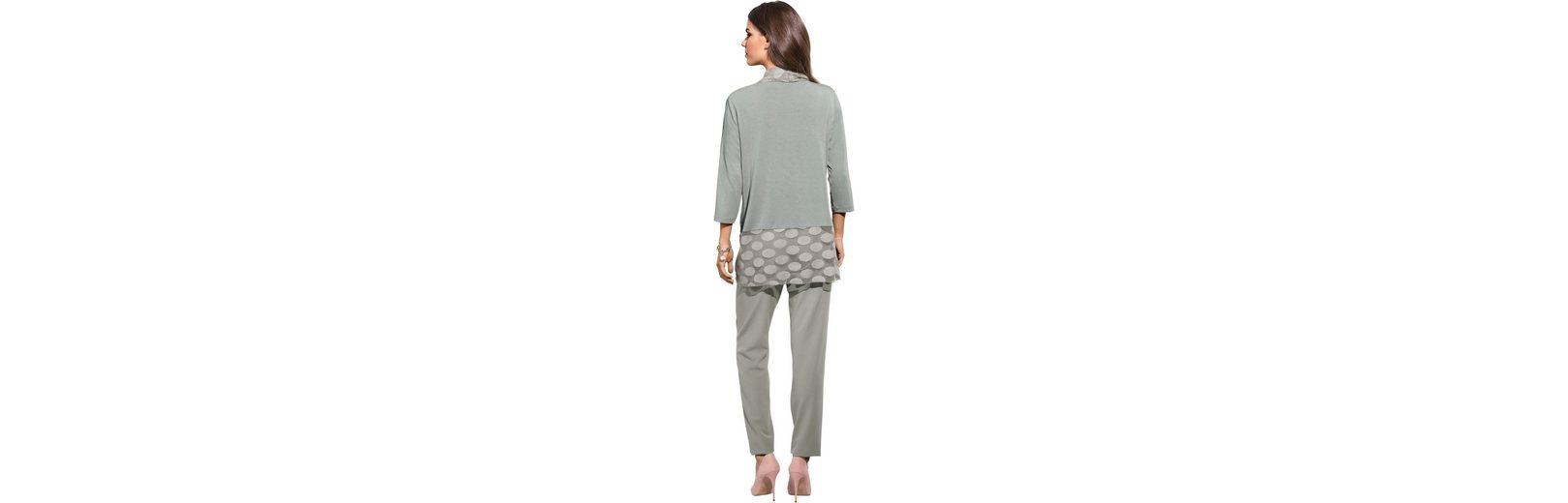 Lady Shirtjacke mit breiten, fließend fallenden Tupfen-Volants