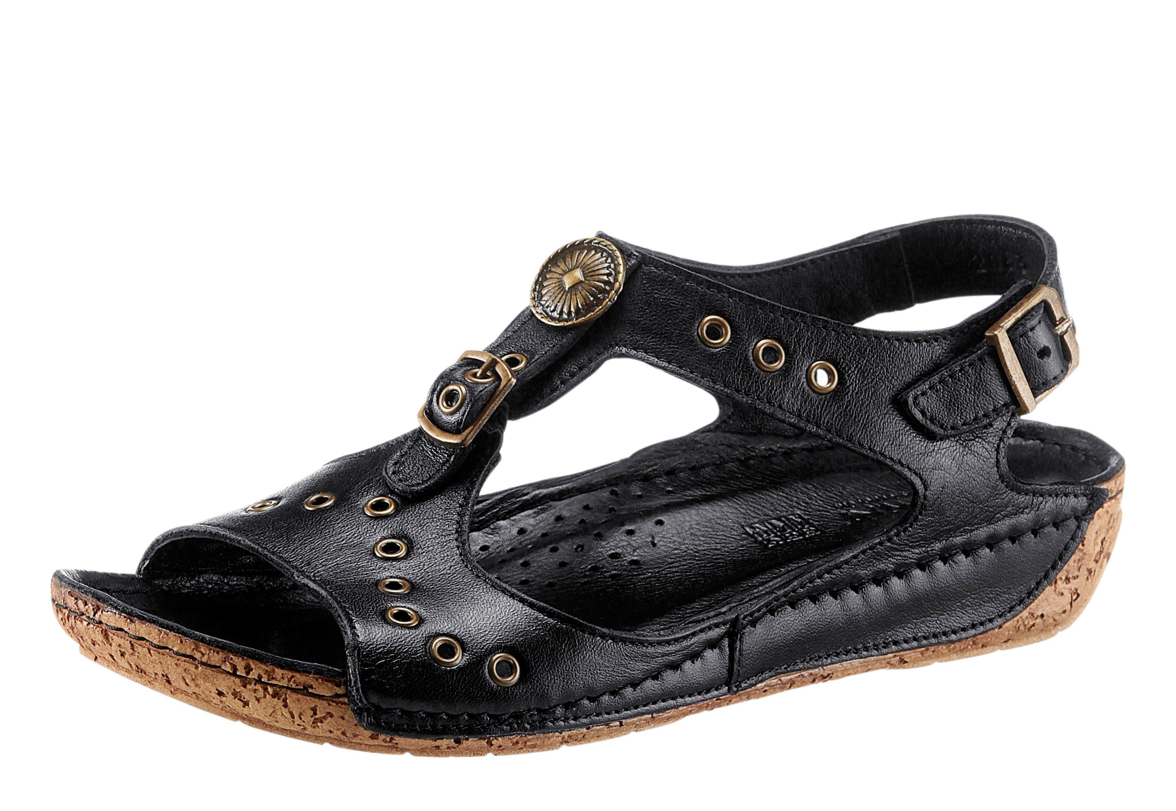 Gemini Sandalette mit Ziernieten und Zierknöpfen, schwarz, schwarz