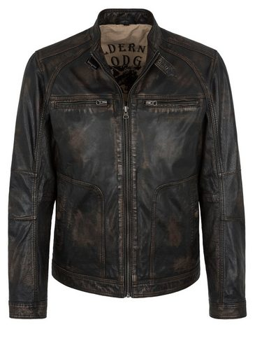 Trapper Lederjacke, Slim Fit