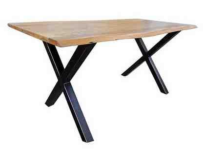KAWOLA Esstisch massiv mit Baumkante Kreuzfuß »schwarz«