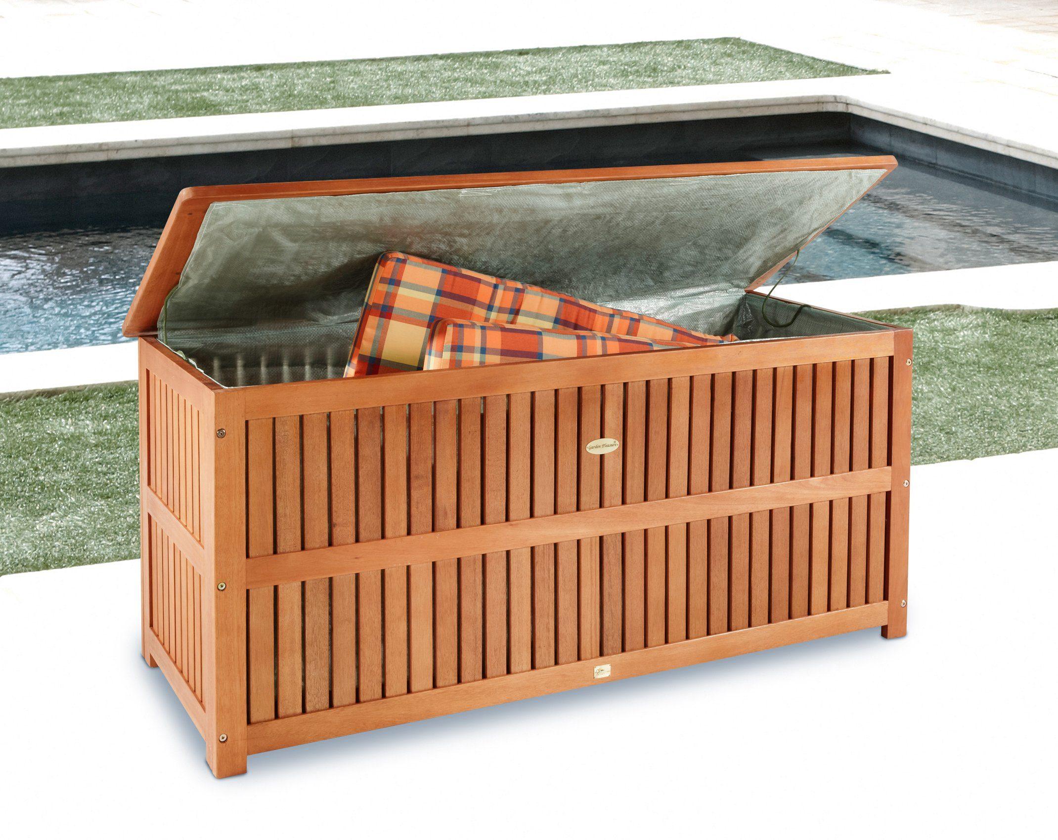 Auflagenbox , 130x58x55 cm, Eukalyptusholz, braun
