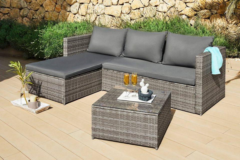 loungeset phoenix ecklounge tisch 61x61 cm polyrattan inkl auflagen grau online kaufen. Black Bedroom Furniture Sets. Home Design Ideas