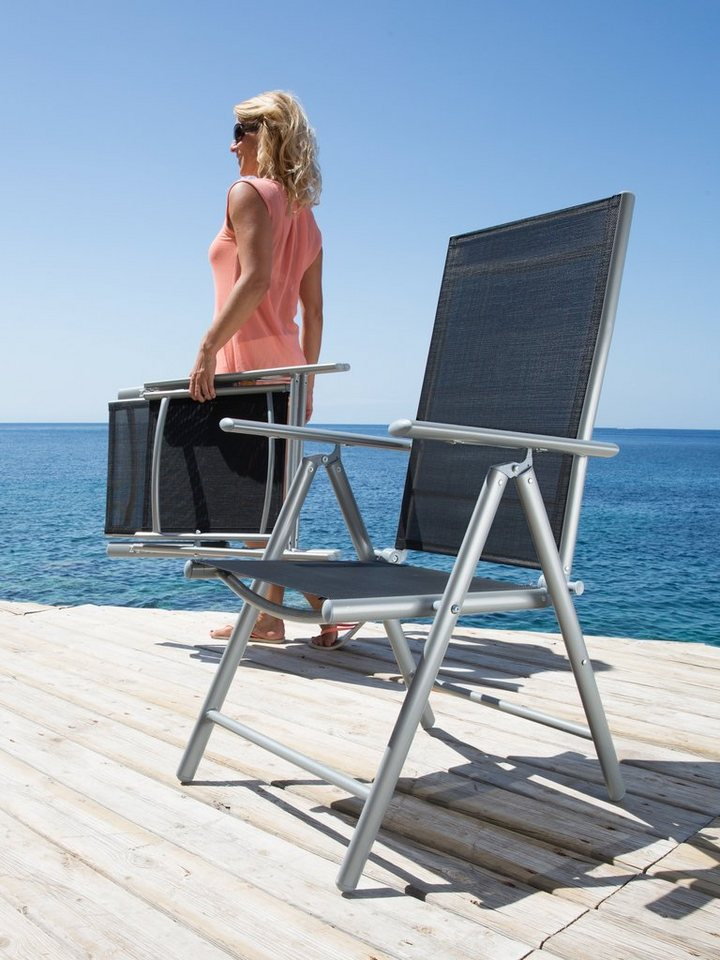 Merxx gartenstuhl lima 2er set alu textil verstellbar schwarz online kaufen otto - Merxx gartenstuhl ...