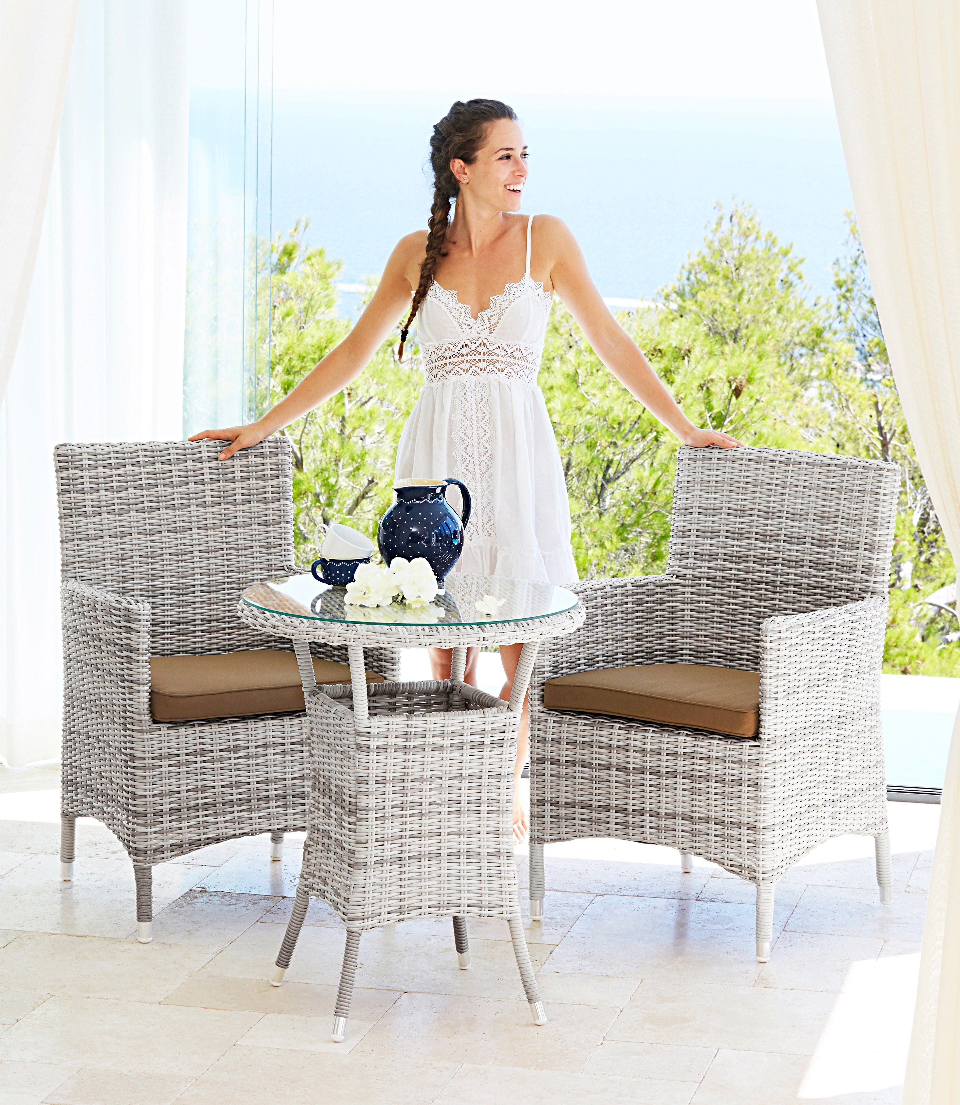 Gartenmöbelset »Bali«, 2 Sessel, 1 Tisch Ø 60 cm, Polyrattan, wollweiß