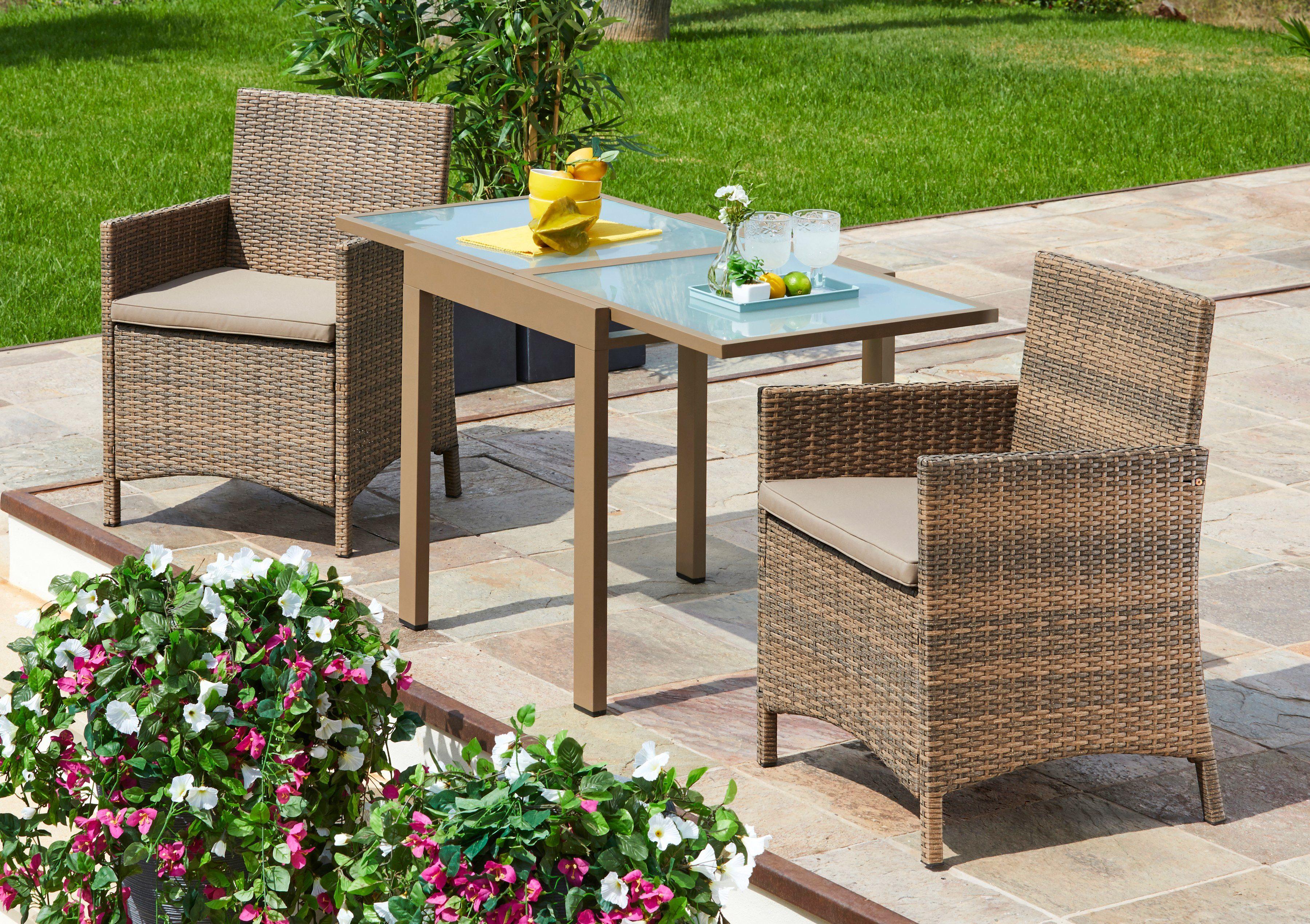 MERXX Gartenmöbelset »Treviso Premium«, 5-tlg., 2 Sessel, Tisch 65x130, Polyrattan, inkl. Auflagen