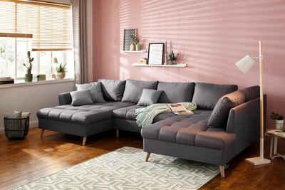 Home affaire Wohnlandschaft »Penelope«, mit feiner Steppung im Sitzbereich und losen Kissen
