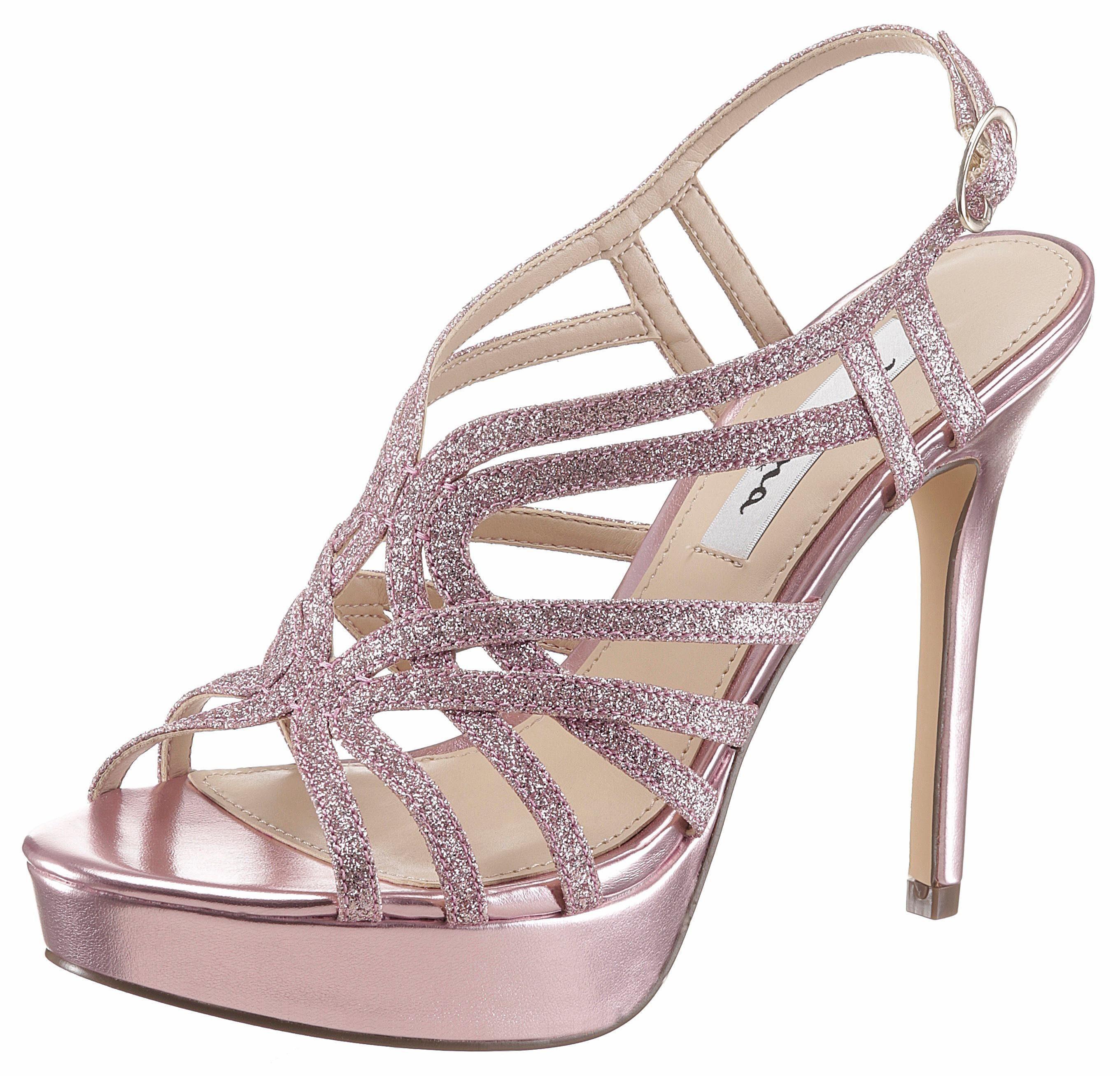 Nina Solina High-Heel-Sandalette, mit feinen Glitzerriemchen online kaufen  rosa