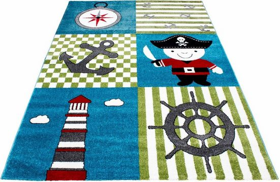 Kinderteppich »Kids 450«, Ayyildiz, rechteckig, Höhe 12 mm, Piraten und Seeräuber Motiv