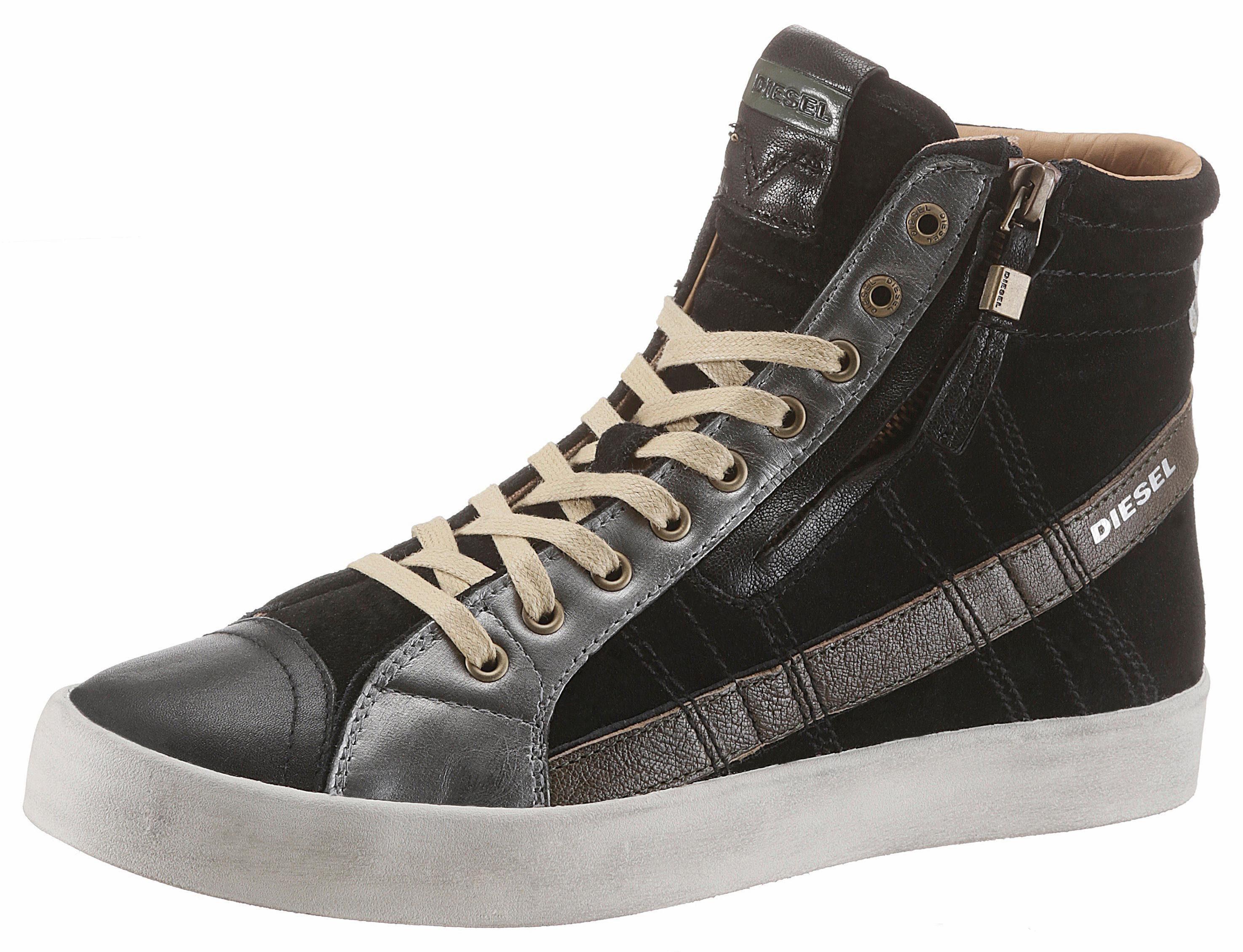 Diesel D-String Plus Sneaker, mit praktischem Außenreißverschluss online kaufen  schwarz-silberfarben