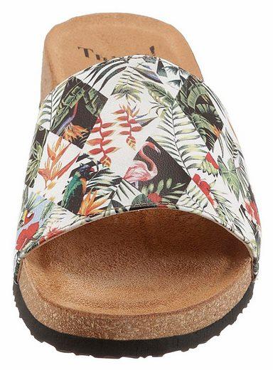 Think! Pantolette, mit trendigen Dschungel-Print