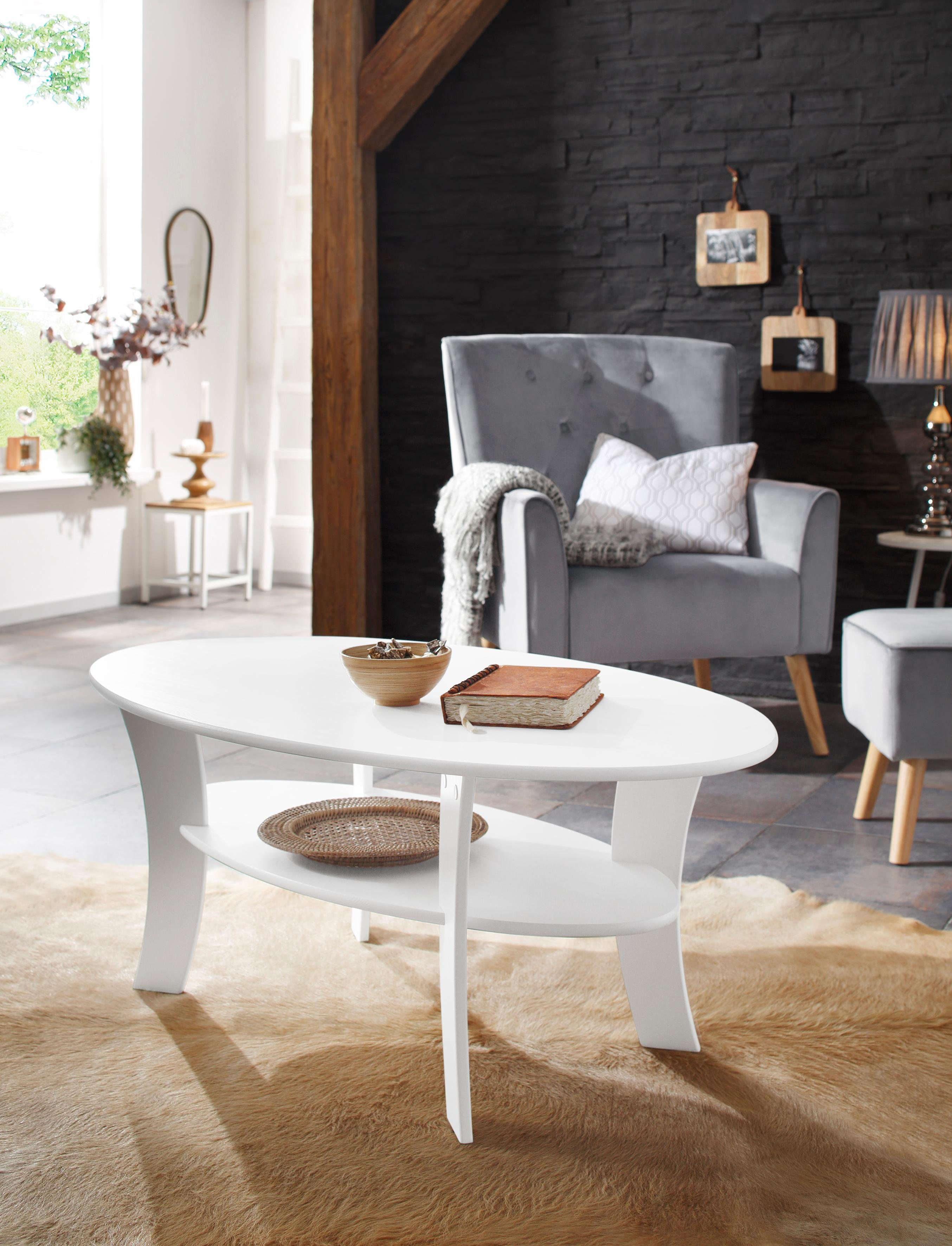 Home affaire Couchtisch »Lenne«, Oval mit Ablage | Wohnzimmer > Tische > Couchtische | Glanz | Holz | Home affaire