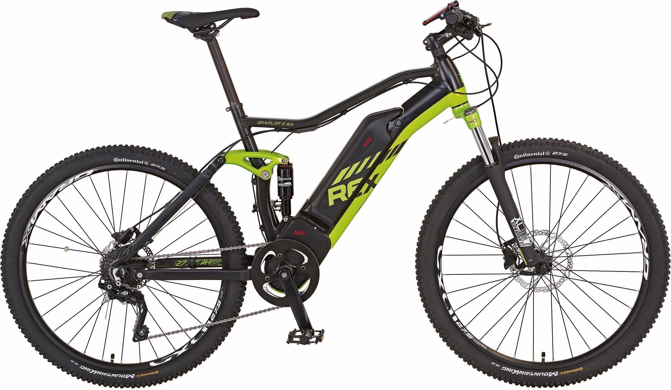 REX Fully MTB E-Bike, Mittelmotor 48V/250W, 27,5 Zoll, 10 Gang Shimano XT, »Graveler e 8.9«