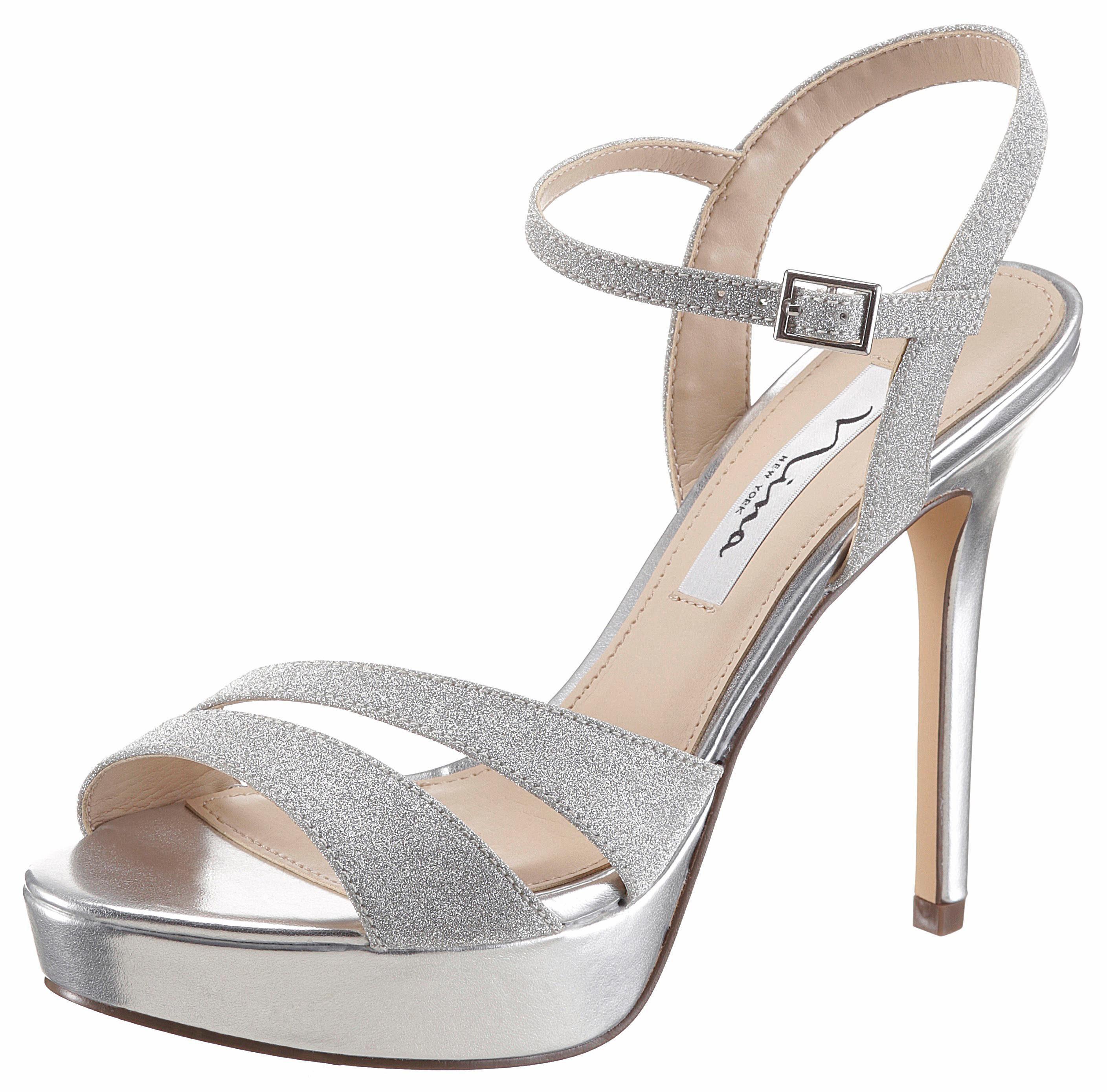 Nina Silana High-Heel-Sandalette, mit Glitzer-Riemchen online kaufen  silberfarben