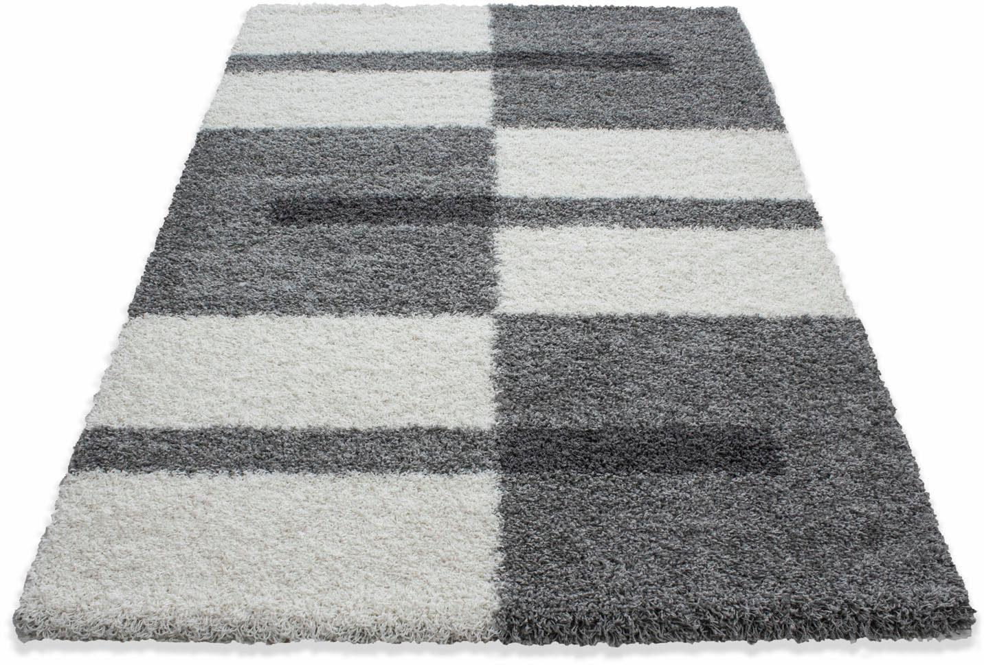 Hochflor teppich ross rund blau floorpassion