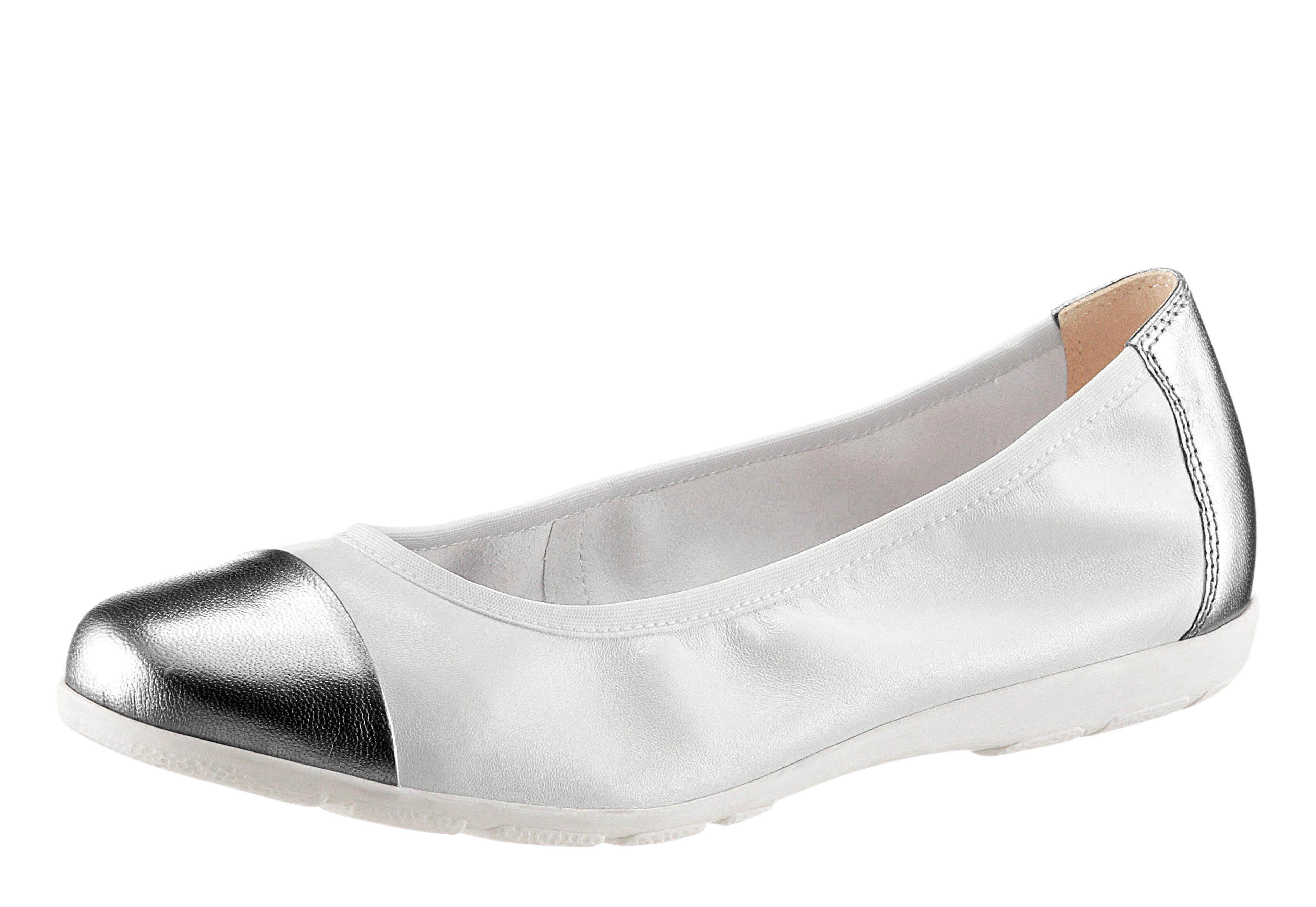 TINE'S Ballerina, mit Zierschleife, weiß, weiß-silberfarben