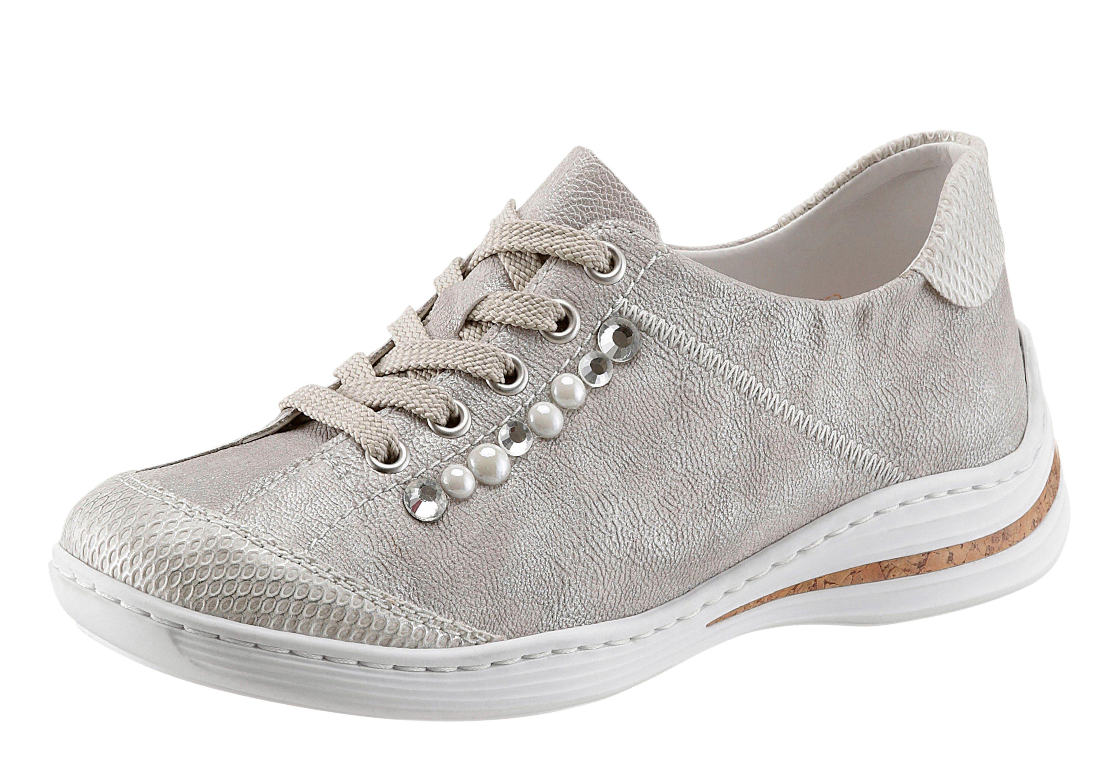 Rieker Sneaker, mit angesagten Perlen und Schmucksteinen besetzt, grau, 40 40