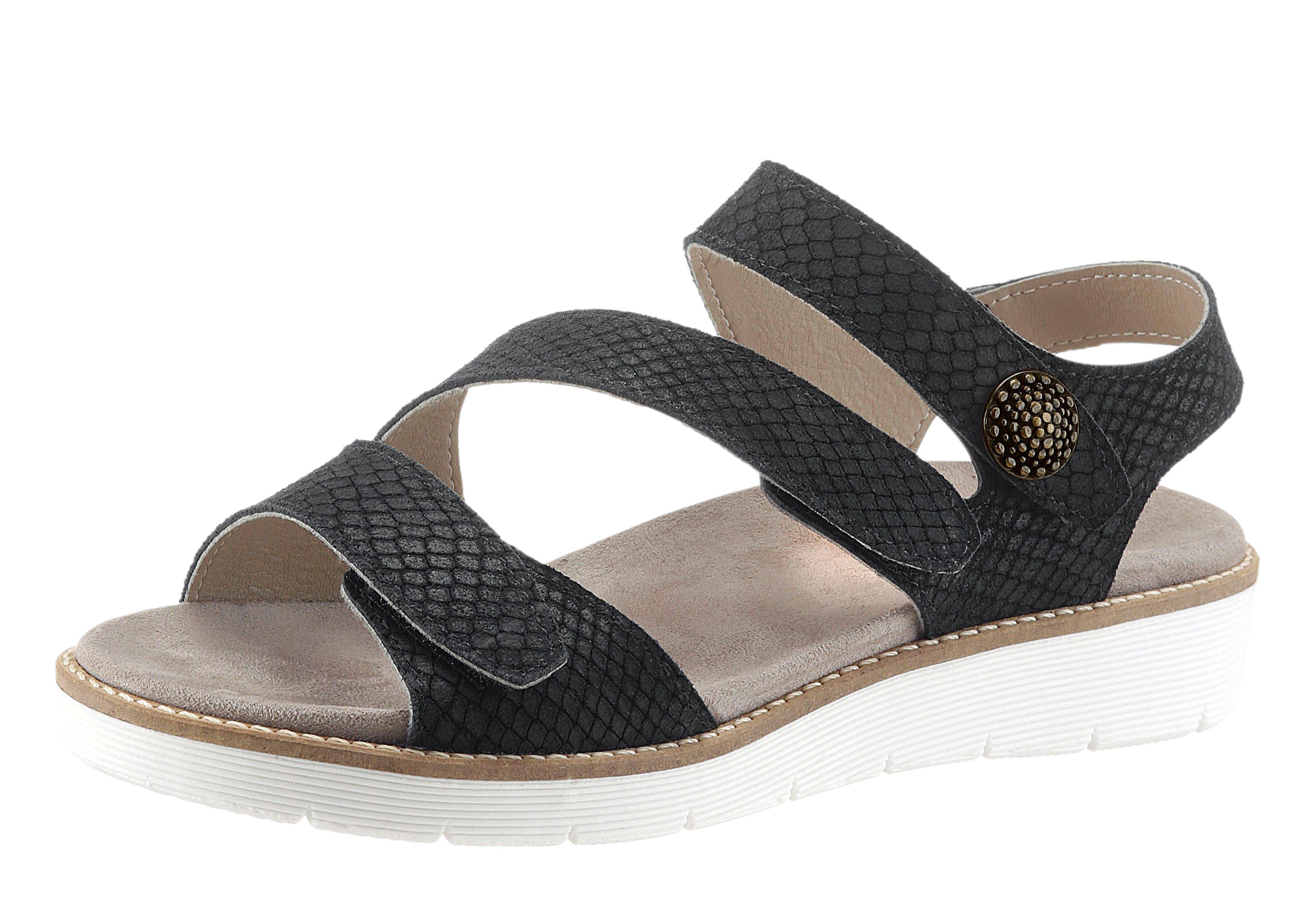 Aco Sandalette mit leichter Kroko-Prägung, schwarz, schwarz