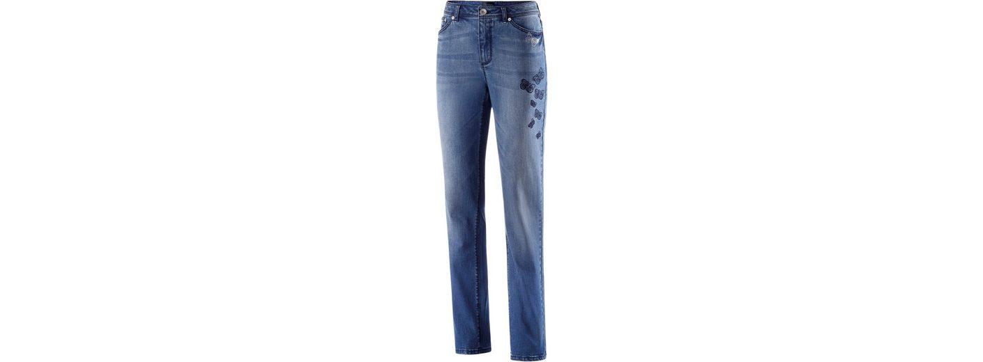 Creation L Jeans mit Schmetterlings-Stickereien und Glitzersteinchen Billige Versorgung Billig Und Schön Shop Für Online BFaDUbb