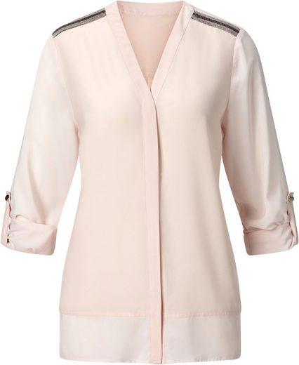 Creation L Bluse mit hochwertigem, silberfarbigem Zierband