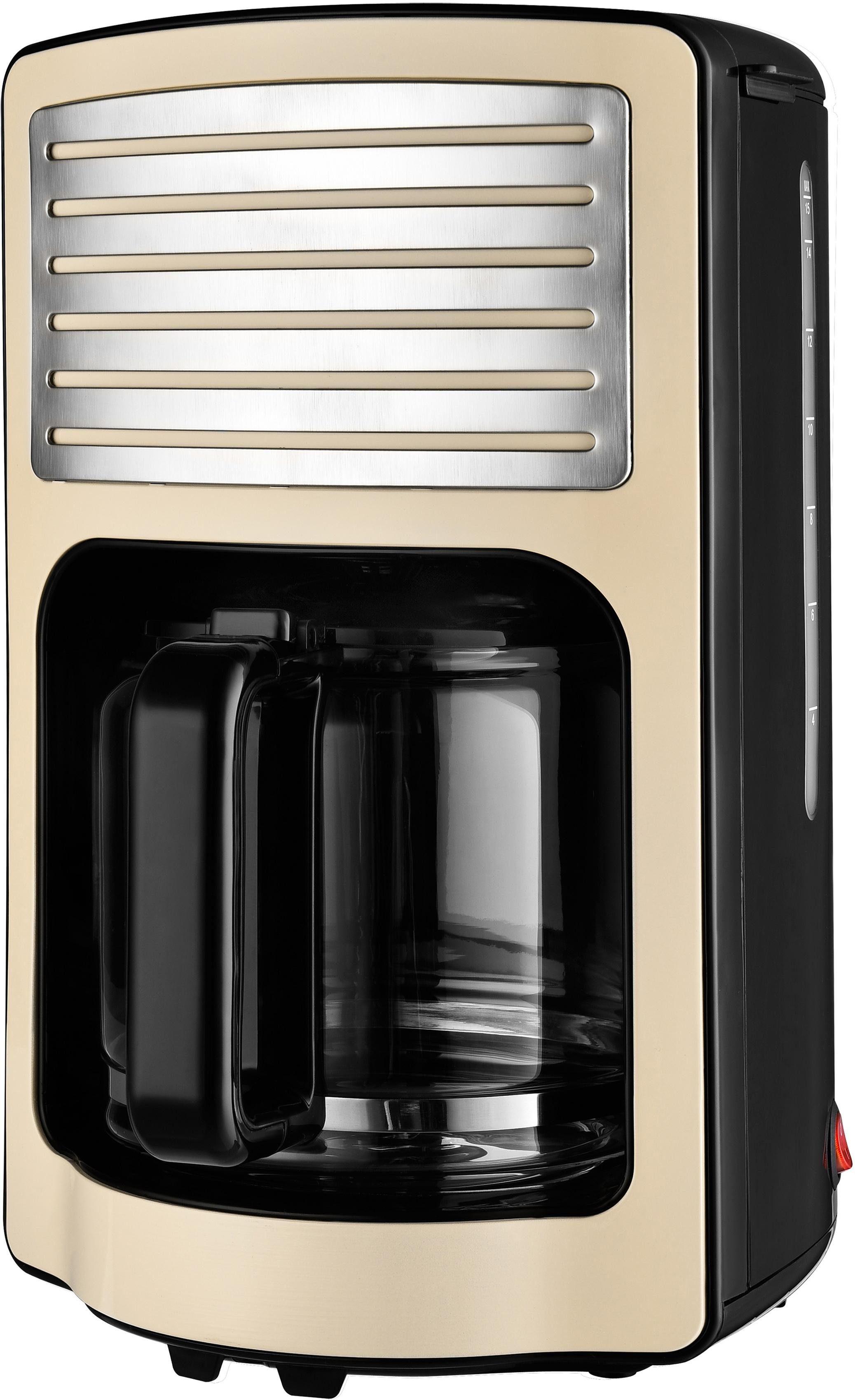 Team Kalorik Filterkaffeemaschine RETRO Kaffeeautomat TKG CM 2500 B, Papierfilter 1x4