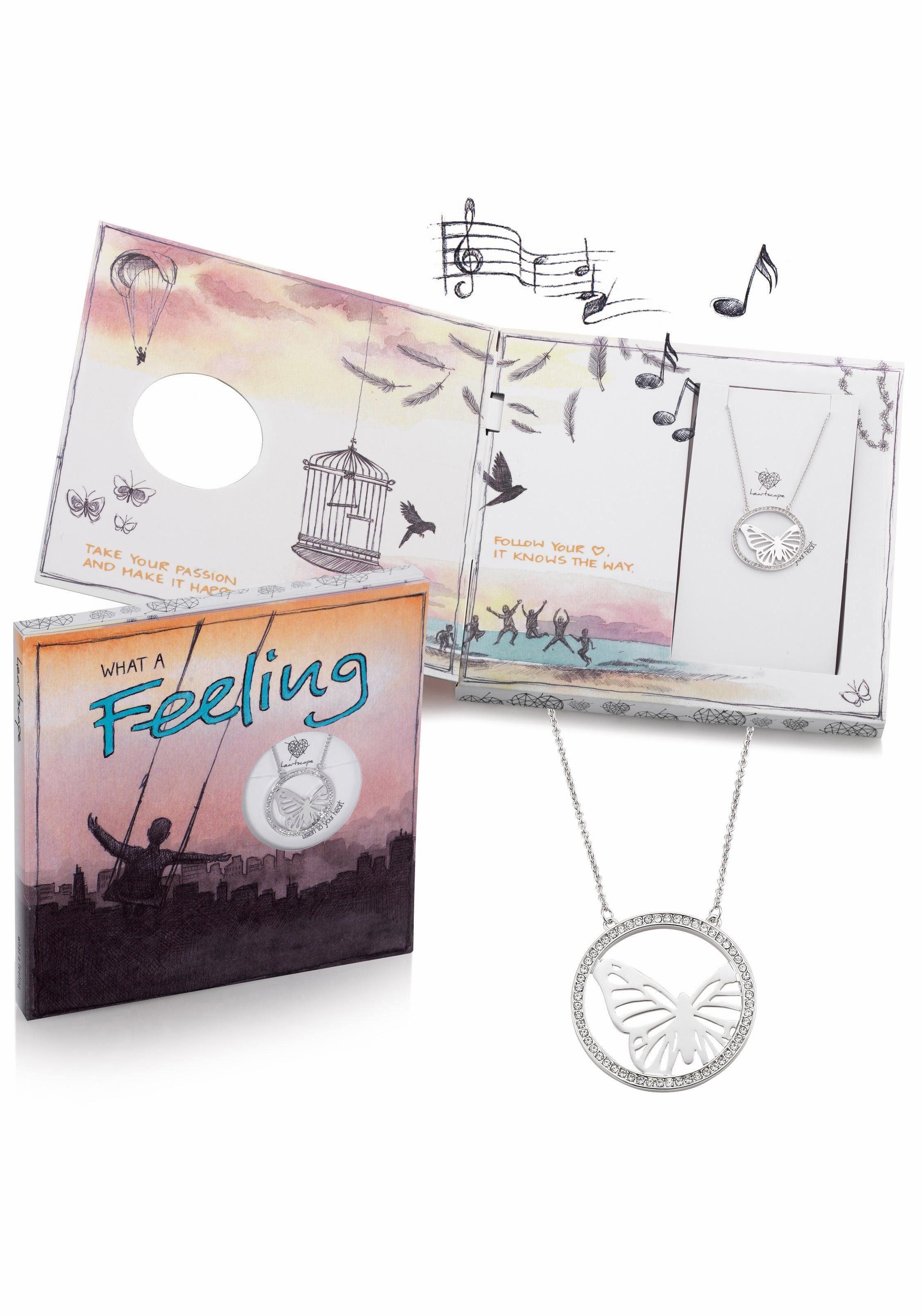 heartscape Kette mit Anhänger »Schmetterling, WHAT A Feeling« mit Swarovski® Kristallen und Musik-Geschenkbox