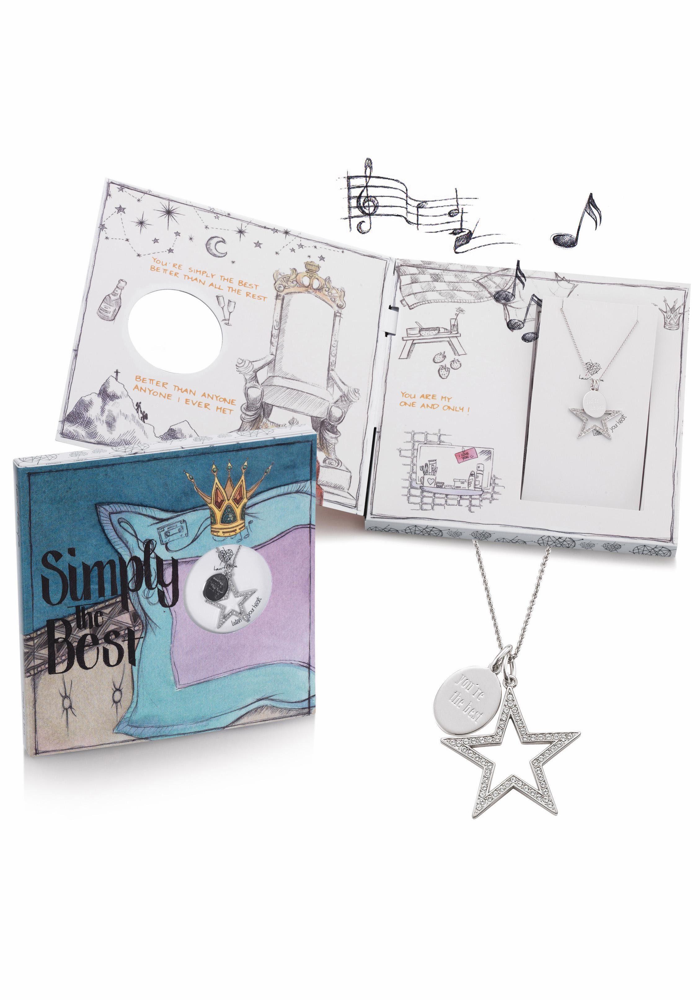 heartscape Kette mit Anhänger »Stern, Simply The Best« mit Swarovski® Kristallen und Musik-Geschenkbox