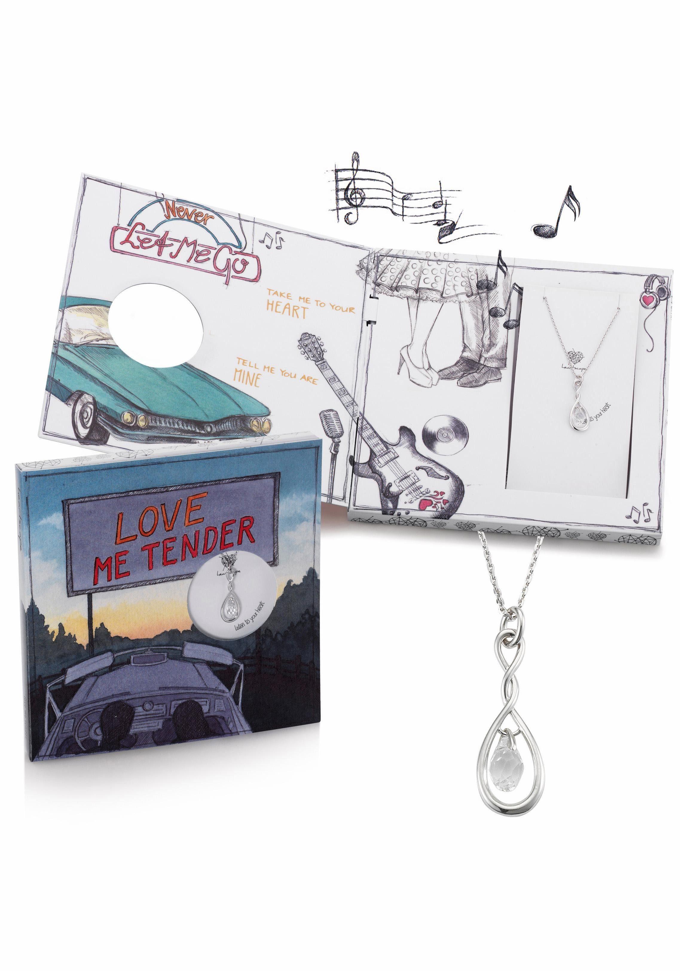 heartscape Kette mit Anhänger »Tropfen mit Infinity / Unendlichkeitsschleife, LOVE ME TENDER« mit Swarovski® Kristallen und Musik-Geschenkbox