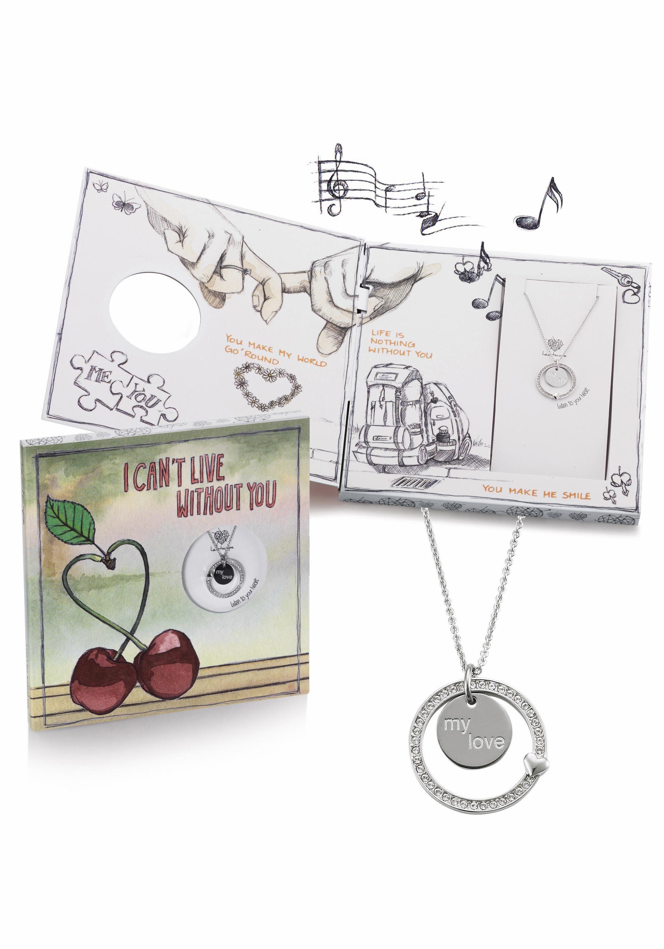 heartscape Kette mit Anhänger »I CAN'T LIVE WITHOUT YOU«, mit Swarovski® Kristallen und Musik-Geschenkbox