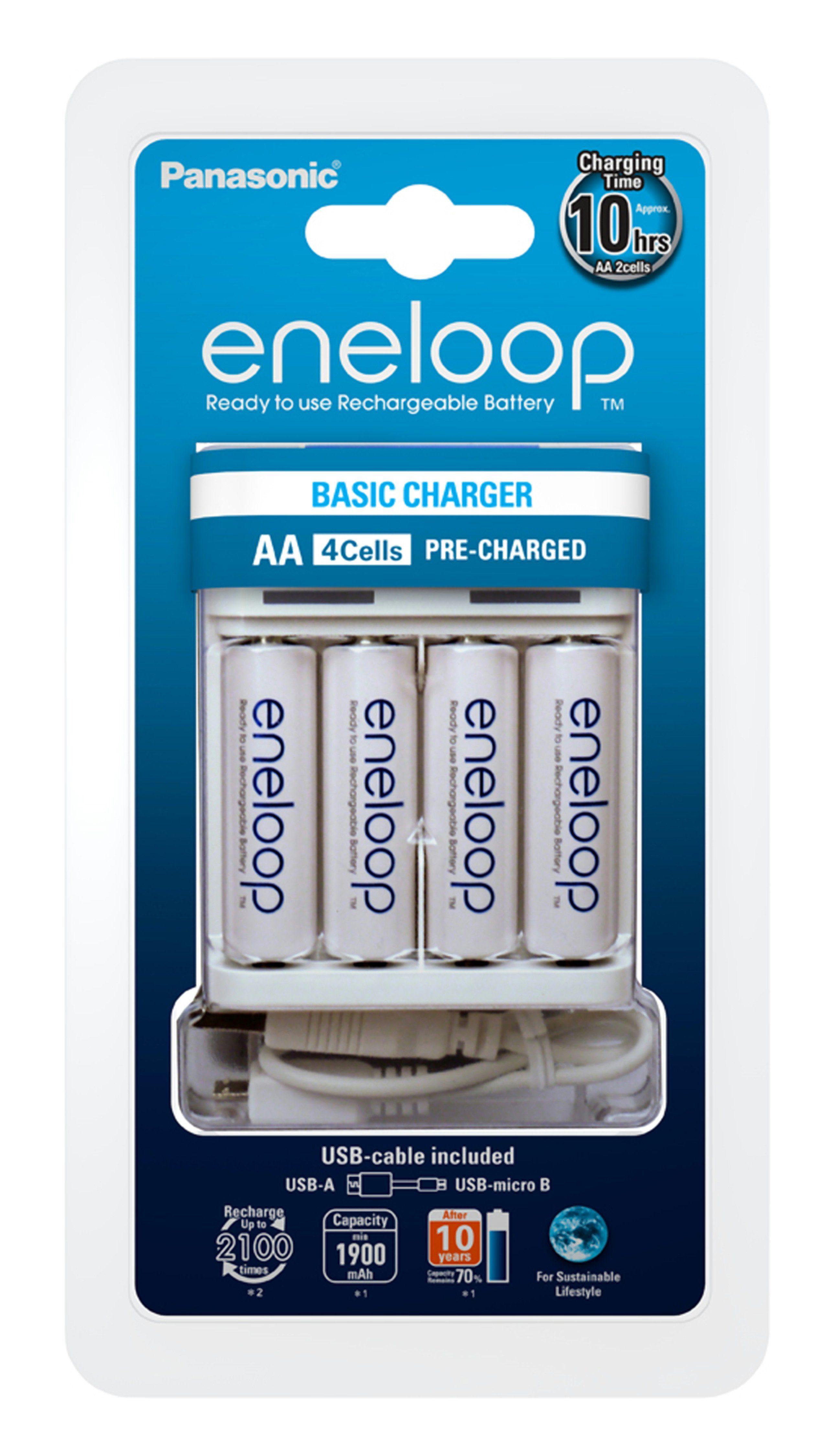 Panasonic eneloop USB-Ladegerät CC61 im Set mit 4 AA Akkus »K-KJ61MCC40USB«