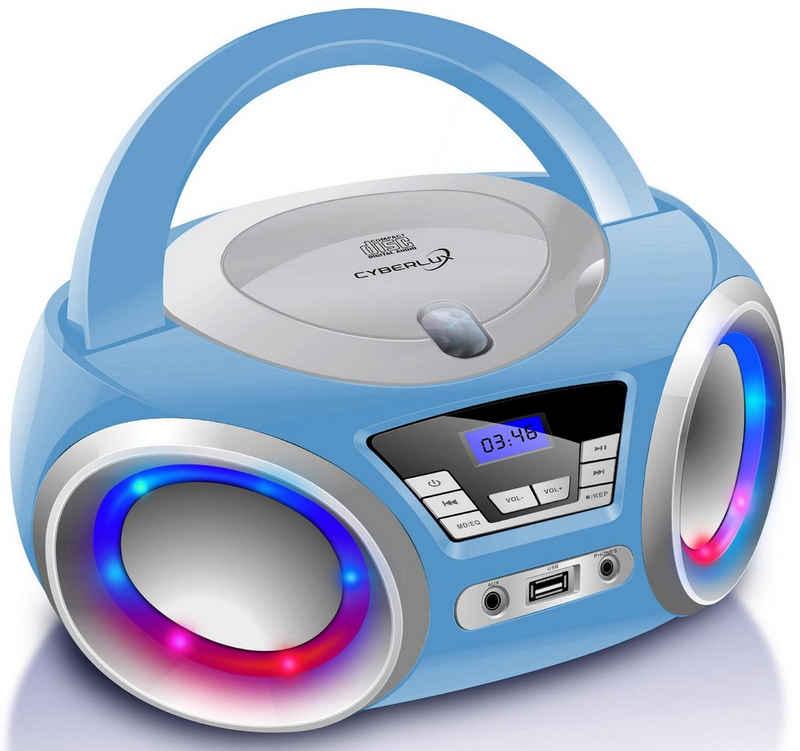 Cyberlux »CL-900« tragbarer CD-Player (Digitales FM Radio mit MP3 USB, LED-Disco-Beleuchtung)